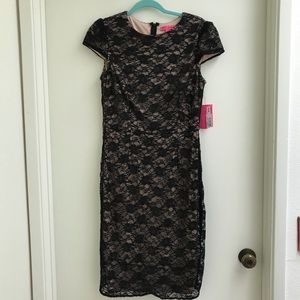 Betsey Johnson NEW Black Lace Sequins Dress sz 8